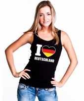 Zwart i love duitsland fan singlet-shirt tanktop dames