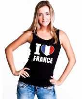 Zwart i love frankrijk fan singlet-shirt tanktop dames