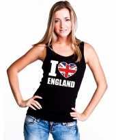 Zwart i love groot brittannie fan singlet-shirt tanktop dames