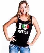 Zwart i love mexico fan singlet-shirt tanktop dames
