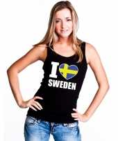 Zwart i love zweden fan singlet-shirt tanktop dames