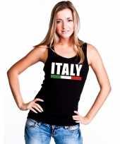 Zwart italie supporter singlet-shirt tanktop dames