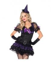 Zwart paars heksen kostuum