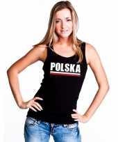 Zwart polen supporter singlet-shirt tanktop dames