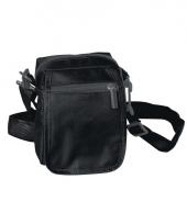 Zwart schoudertasje van polyester 15 cm