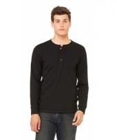 Zwart-shirt voor heren met knoopjes