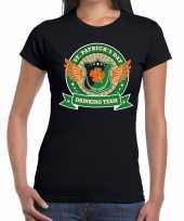 Zwart st patricks day drinking team t-shirt dames