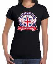 Zwart united kingdom drinking team t-shirt dames