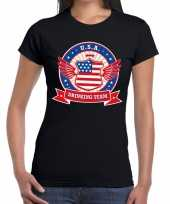 Zwart usa drinking team t-shirt dames