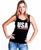 Zwart usa supporter singlet-shirt tanktop dames