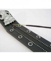 Zwart wierookplankje met versieringen 28 cm 10078027