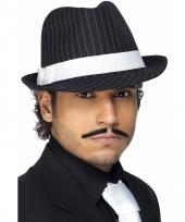 Zwart wit gestreepte al capone hoed