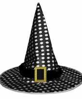 Zwart witte heksenhoed met stippen voor volwassenen