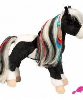 Zwart witte paarden knuffel met kam 30 cm