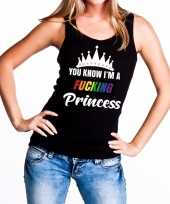 Zwart you know i am a fucking princess tanktop dames