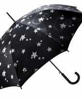 Zwarte automatische paraplu met zilveren sterren print 85 cm