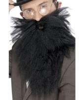 Zwarte baard met snor voor heren