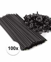 Zwarte ballonnenstaafjes ballonnenstokjes 100 stuks