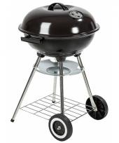 Zwarte barbecue op wielen 73 cm
