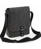 Zwarte canvas tas voor tablet of ipad