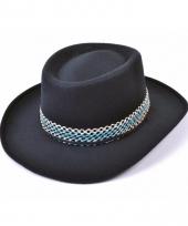 Zwarte cowboy hoed van vilt