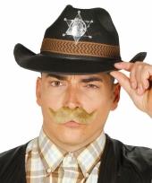 Zwarte cowboyhoed van vilt voor volwassenen
