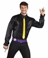 Zwarte disco blouse voor heren