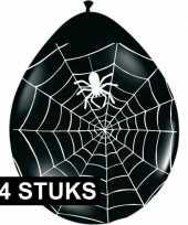 Zwarte halloween ballonnen met spinnenweb 24 stuks