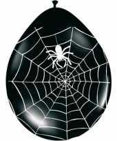 Zwarte halloween ballonnen met spinnenweb 8 stuks