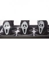 Zwarte halloween kaarsjes scream