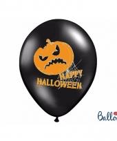 Zwarte happy halloween ballonnen met pompoen 6 stuks