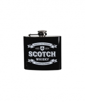 Zwarte heupfles scotch whiskey 150 ml
