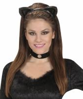 Zwarte katten oortjes aan een diadeem