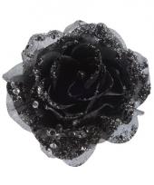 Zwarte kerstversiering roos op clip