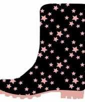 Zwarte kleuter kinder regenlaarzen roze sterretjes print