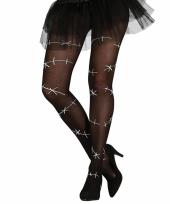 Zwarte legging met witte naden en scheuren