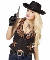 Zwarte met bruin cowboy vest voor dames