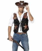 Zwarte met bruin cowboy vest voor heren
