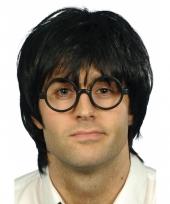 Zwarte nerd pruik met zwarte bril