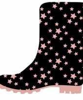 Zwarte peuter kinder regenlaarzen roze sterretjes print