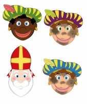 Zwarte pieten en sinterklaas feestmaskers voor kinderen 4 stuks