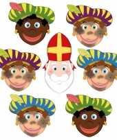 Zwarte pieten en sinterklaas feestmaskers voor kinderen 6 stuks