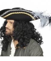 Zwarte piraten hoed luxe met veren