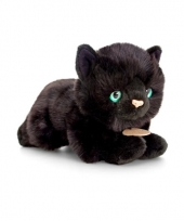 Zwarte poes kat knuffel liggend 30cm
