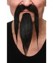 Zwarte puntige baard met snor