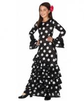 Zwarte spaanse jurken met witte stippen