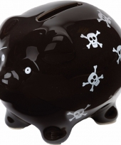 Zwarte spaarvarkens met skulls 9 cm