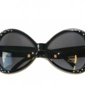Zwarte zonnebril met diamantjes