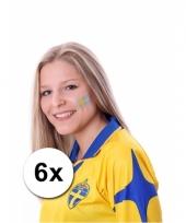 Zweedse supporters tattoo 6 stuks