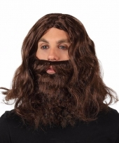 Zwerver pruik met baard bruin